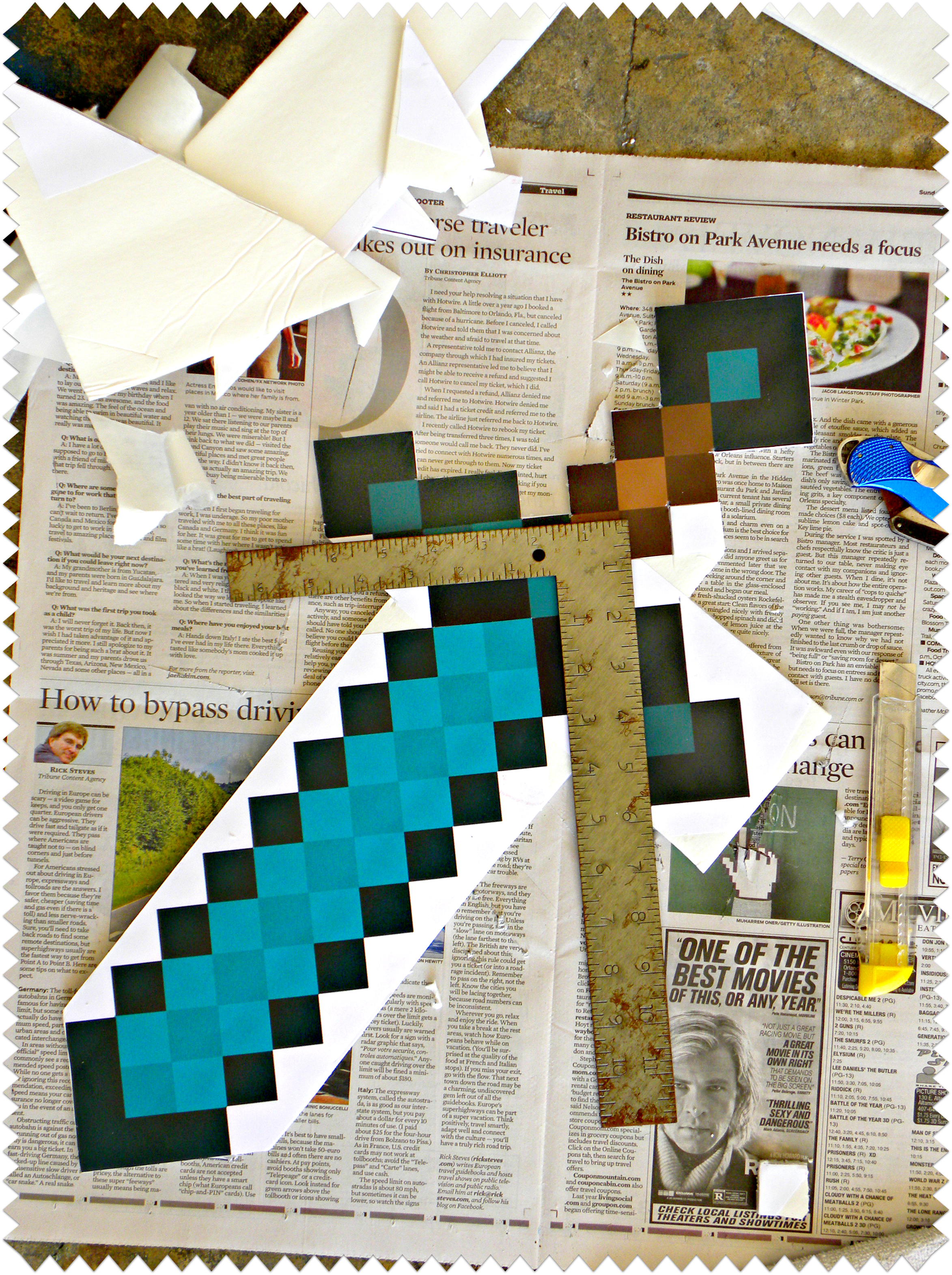 how to make minecraft diamond sword