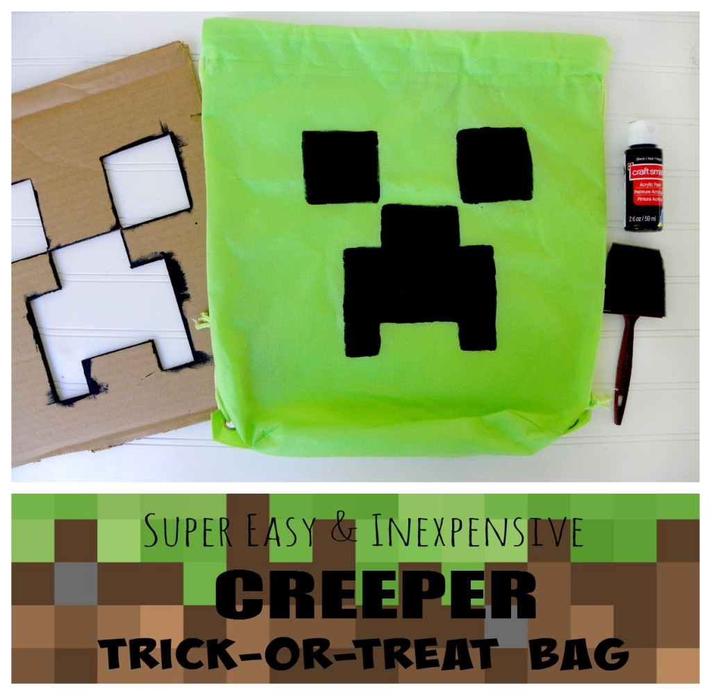 DIY Minecraft Creeper Bag - perfect for Birthday parties or Trick-or-treat!