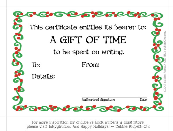 Best writer's gift ever--the Gift of TIme. Thanks to the always clever Debbie Ridpath Ohi