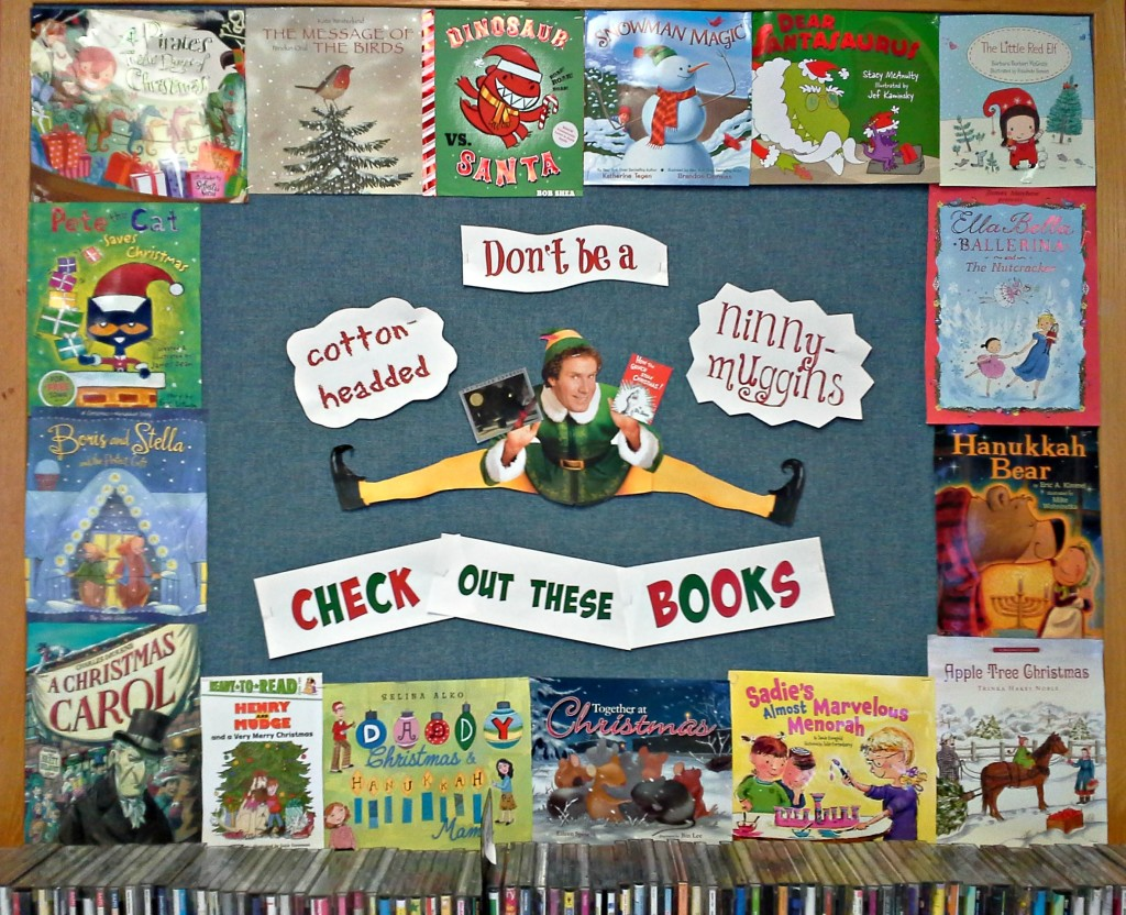 holiday library board, elf, christmas books, childrens christmas books