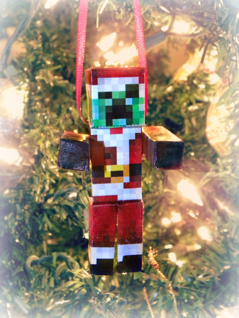 Easy DIY Minecraft Creeper Santa Ornament | KerryAnnMorgan.com