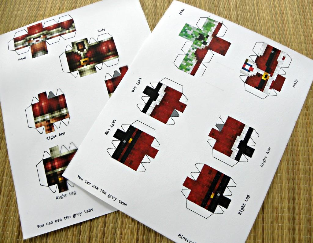 minecraft papercraft, minecraft santa, minecraft christmas