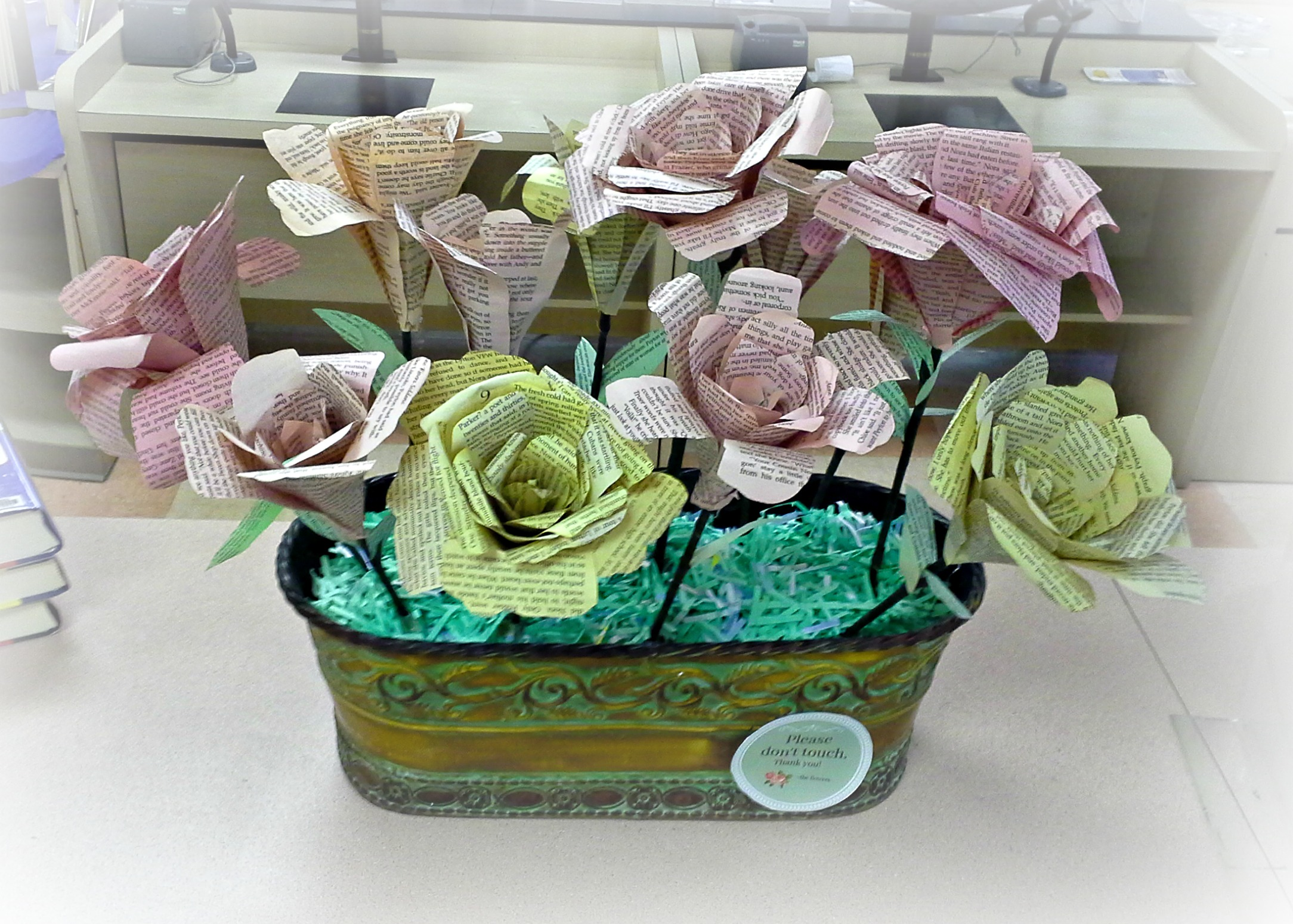 Spring Library Display - Paper Roses