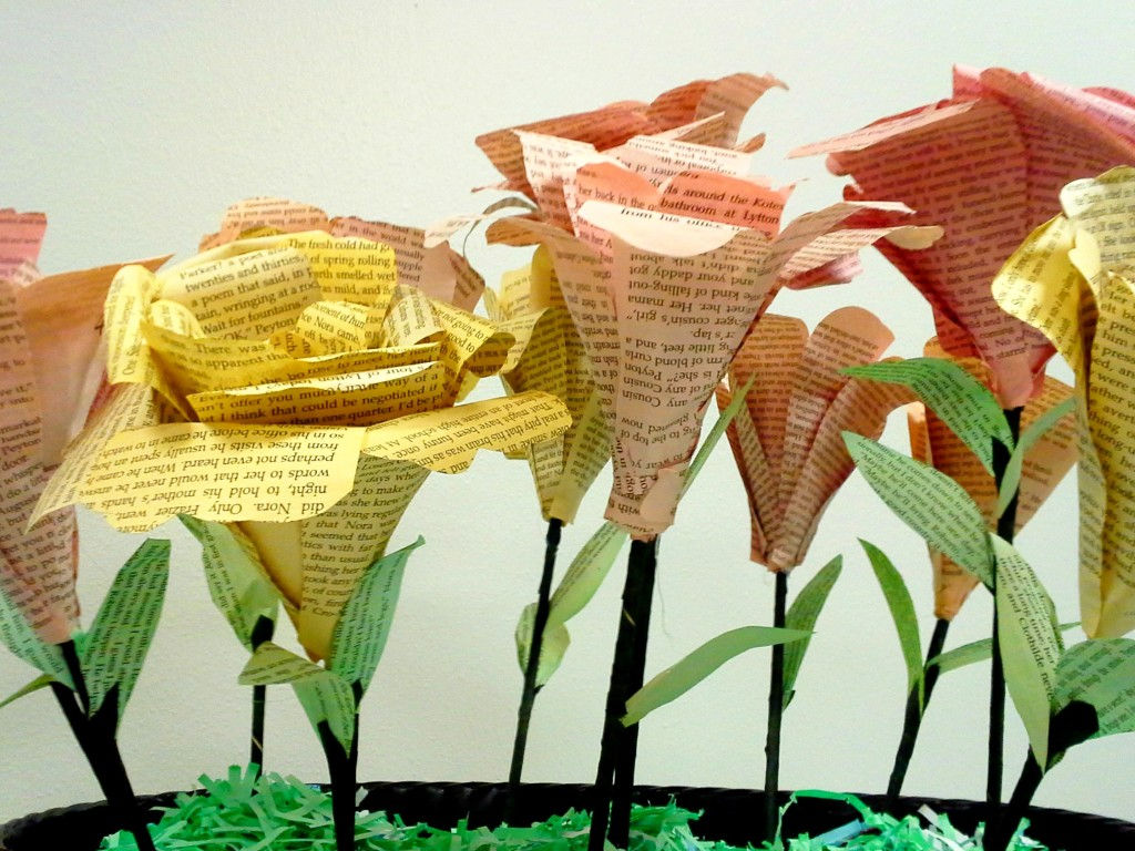 large book flowers, side view