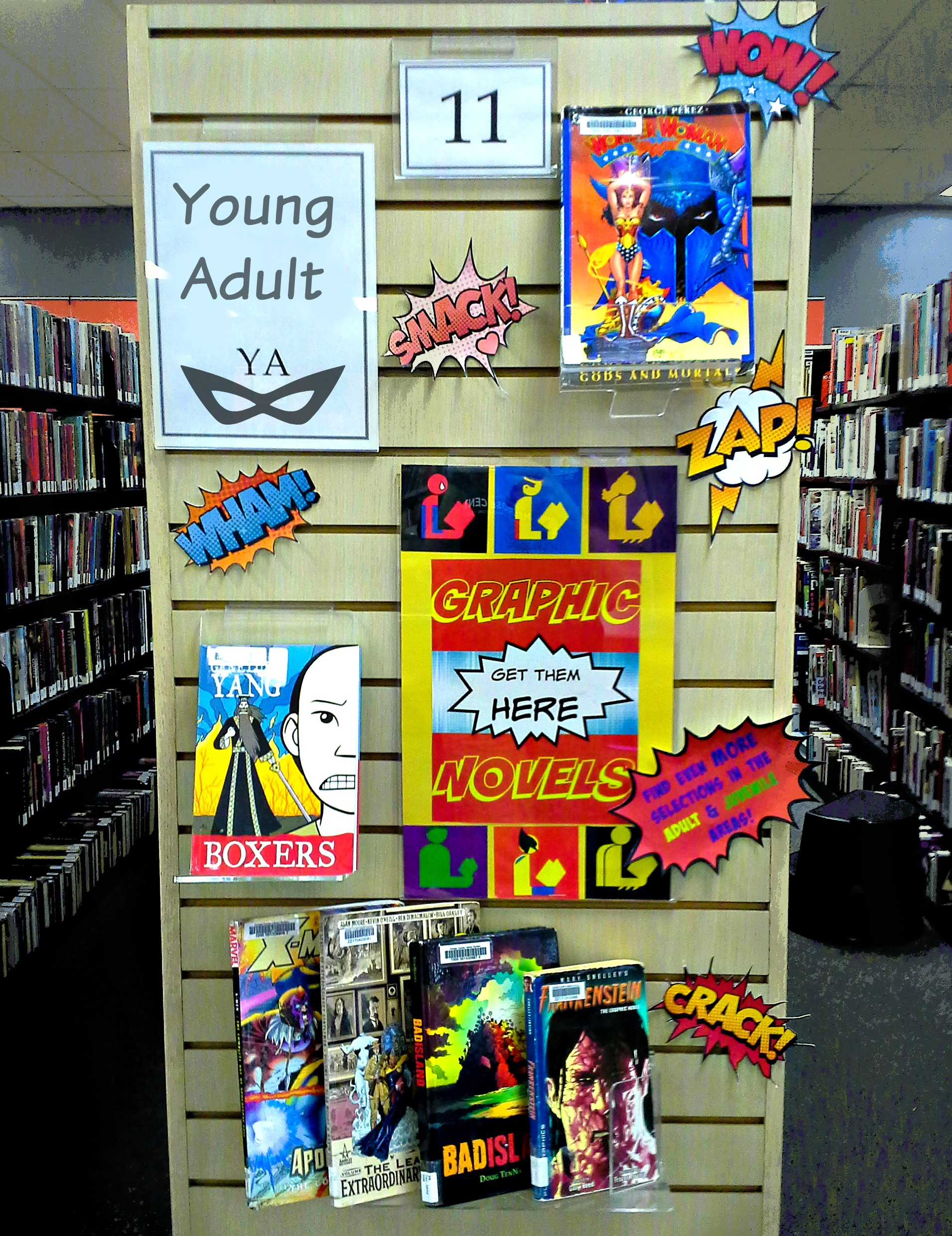Fun YA library display higlighting Graphic Novels. Would work for adult and J, too!