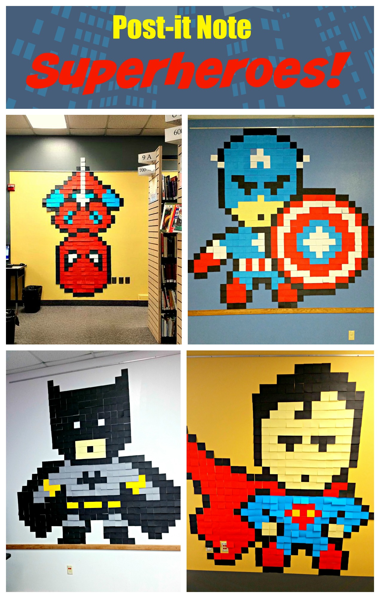 Post-it Note Superheroes! — Super fun display for your library, classroom or superhero party! #SRP2015