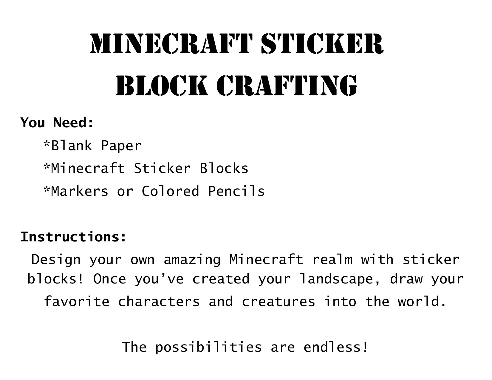 minecraft madness crafts for parties classrooms or libraries