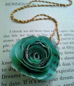 Lovely book page flower pendant