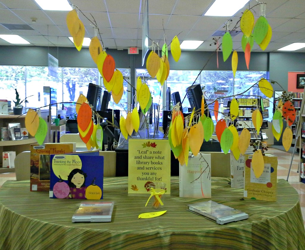 The Thankful Tree – a great fall library display/passive program. Perfect for classrooms or Thanksgiving table centerpieces, too!