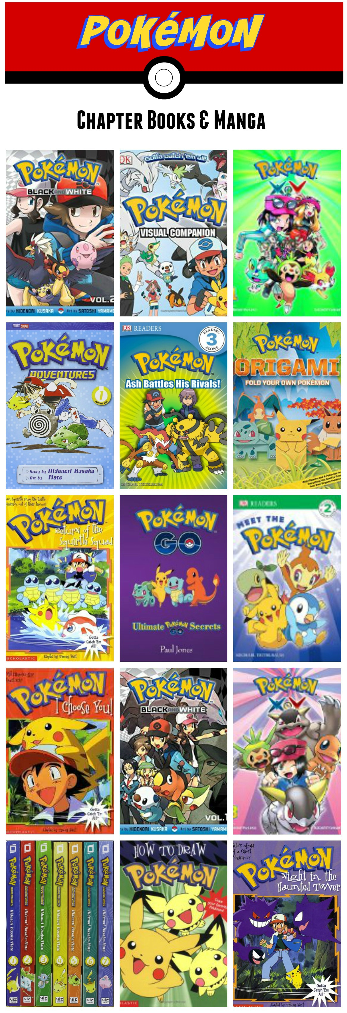 Pokemon chapter books and manga kids will love!  These books are perfect for ages 6-8, 9-12, and even tweens and teens love Manga.