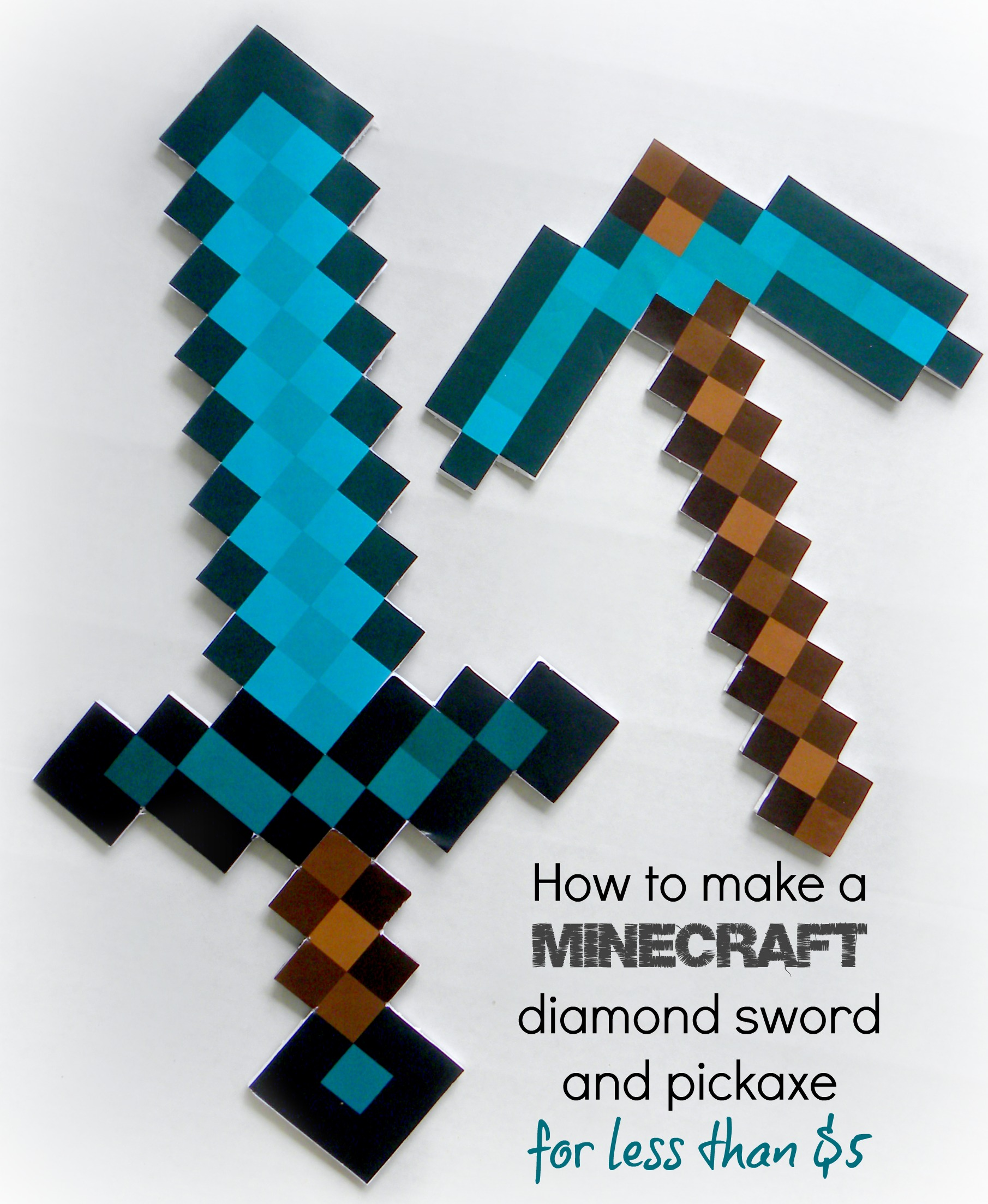 How To Make A Minecraft Diamond Sword And Pickaxe Fold An Origami Costume